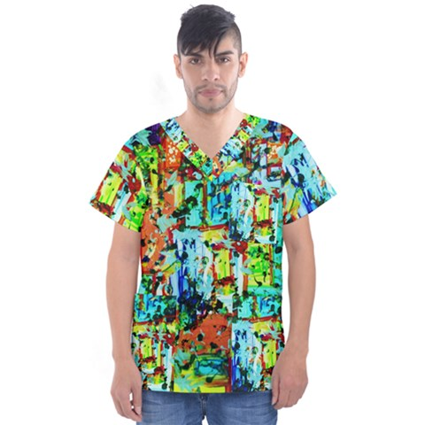 Birds   Caged And Free Men s V-neck Scrub Top by bestdesignintheworld