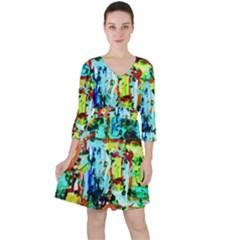 Birds   Caged And Free Ruffle Dress