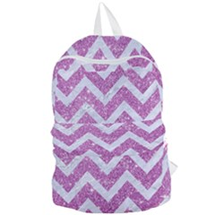 Chevron9 White Marble & Purple Glitter Foldable Lightweight Backpack by trendistuff