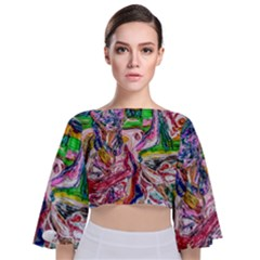 Budha Denied The Shine Of The World Tie Back Butterfly Sleeve Chiffon Top by bestdesignintheworld