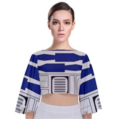 R2 Series Astromech Droid Tie Back Butterfly Sleeve Chiffon Top