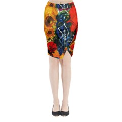 1 Butterfly 1 Midi Wrap Pencil Skirt