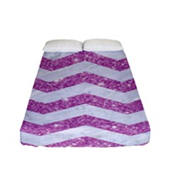 Chevron3 White Marble & Purple Glitter Fitted Sheet (full/ Double Size) by trendistuff