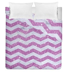 Chevron3 White Marble & Purple Glitter Duvet Cover Double Side (queen Size)