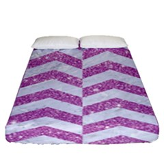 Chevron2 White Marble & Purple Glitter Fitted Sheet (queen Size) by trendistuff