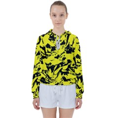 Yellow Black Abstract Military Camouflage Women s Tie Up Sweat
