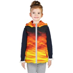 Black Yellow Red Sunset Kid s Hooded Puffer Vest
