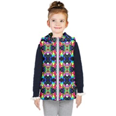 Colorful Bright Seamless Flower Pattern Kid s Hooded Puffer Vest