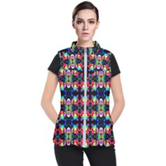 Colorful Bright Seamless Flower Pattern Women s Puffer Vest