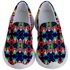 Colorful Bright Seamless Flower Pattern Kid s Lightweight Slip Ons by Costasonlineshop