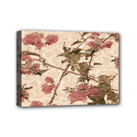 Textured Vintage Floral Design Mini Canvas 7  X 5  by dflcprints