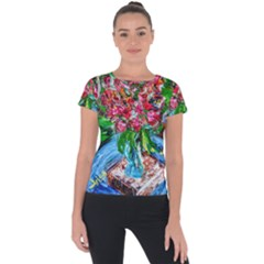 Paint, Flowers And Book Short Sleeve Sports Top