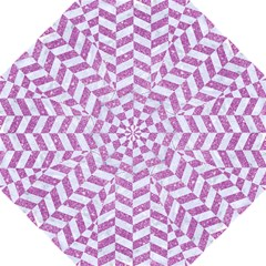 Chevron1 White Marble & Purple Glitter Golf Umbrellas by trendistuff