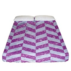 Chevron1 White Marble & Purple Glitter Fitted Sheet (california King Size) by trendistuff