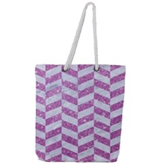 Chevron1 White Marble & Purple Glitter Full Print Rope Handle Tote (large) by trendistuff