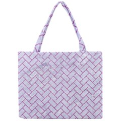 Brick2 White Marble & Purple Glitter (r) Mini Tote Bag by trendistuff