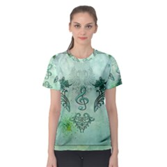Music, Decorative Clef With Floral Elements Women s Sport Mesh Tee by FantasyWorld7