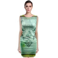 Music, Decorative Clef With Floral Elements Classic Sleeveless Midi Dress by FantasyWorld7
