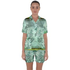 Music, Decorative Clef With Floral Elements Satin Short Sleeve Pyjamas Set