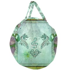 Music, Decorative Clef With Floral Elements Giant Round Zipper Tote by FantasyWorld7