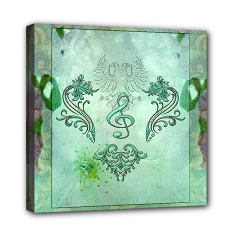 Music, Decorative Clef With Floral Elements Mini Canvas 8  X 8  by FantasyWorld7
