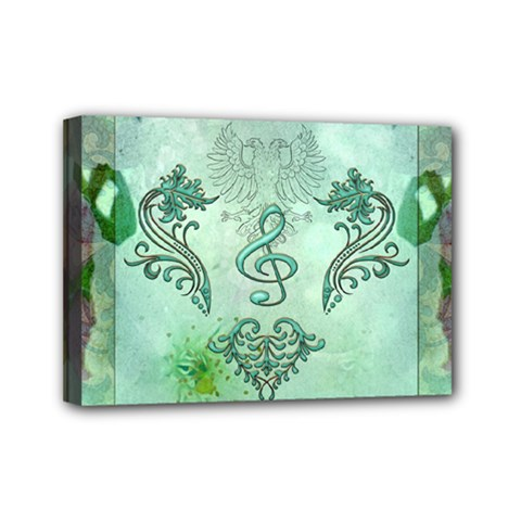 Music, Decorative Clef With Floral Elements Mini Canvas 7  X 5  by FantasyWorld7