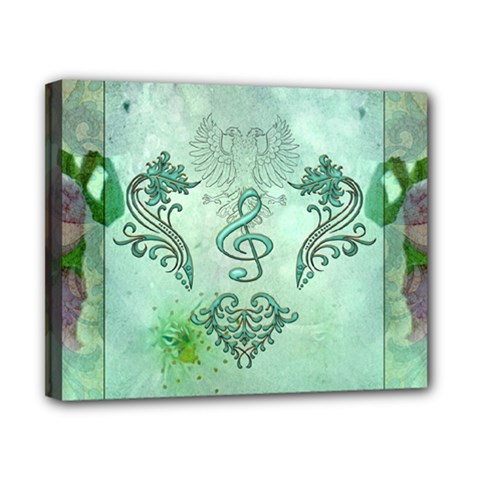 Music, Decorative Clef With Floral Elements Canvas 10  X 8  by FantasyWorld7