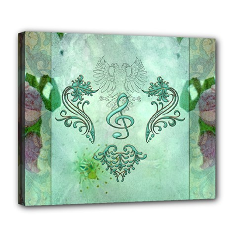 Music, Decorative Clef With Floral Elements Deluxe Canvas 24  X 20   by FantasyWorld7