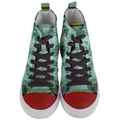Music, Decorative Clef With Floral Elements Women s Mid Top Canvas Sneakers