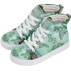 Music, Decorative Clef With Floral Elements Kid s Hi-top Skate Sneakers by FantasyWorld7