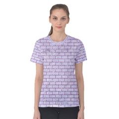Brick1 White Marble & Purple Glitter (r) Women s Cotton Tee by trendistuff