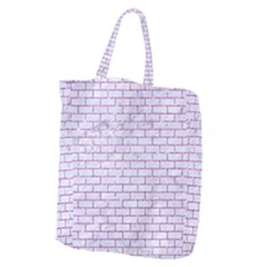 Brick1 White Marble & Purple Glitter (r) Giant Grocery Zipper Tote by trendistuff