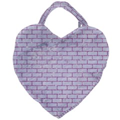 Brick1 White Marble & Purple Glitter (r) Giant Heart Shaped Tote