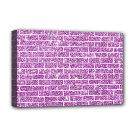 Brick1 White Marble & Purple Glitter Deluxe Canvas 18  X 12