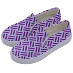 Woven2 White Marble & Purple Denim (r) Kids  Canvas Slip Ons by trendistuff