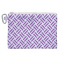Woven2 White Marble & Purple Denim (r) Canvas Cosmetic Bag (xl) by trendistuff