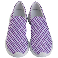 Woven2 White Marble & Purple Denim (r) Women s Lightweight Slip Ons by trendistuff