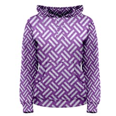 Woven2 White Marble & Purple Denim Women s Pullover Hoodie