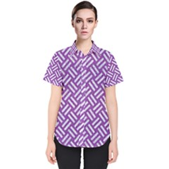 Woven2 White Marble & Purple Denim Women s Short Sleeve Shirt by trendistuff