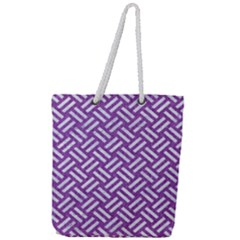 Woven2 White Marble & Purple Denim Full Print Rope Handle Tote (large) by trendistuff