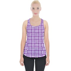 Woven1 White Marble & Purple Denim Piece Up Tank Top