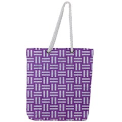 Woven1 White Marble & Purple Denim Full Print Rope Handle Tote (large) by trendistuff
