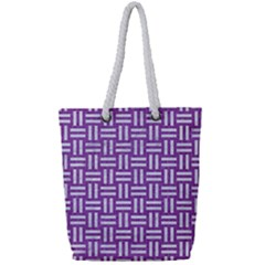 Woven1 White Marble & Purple Denim Full Print Rope Handle Tote (small) by trendistuff