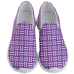 Woven1 White Marble & Purple Denim Men s Lightweight Slip Ons by trendistuff