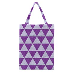 Triangle3 White Marble & Purple Denim Classic Tote Bag