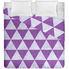 Triangle3 White Marble & Purple Denim Duvet Cover Double Side (king Size) by trendistuff