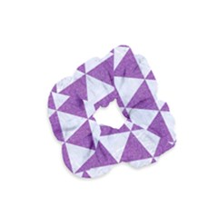 Triangle3 White Marble & Purple Denim Velvet Scrunchie by trendistuff
