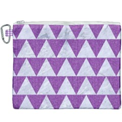 Triangle2 White Marble & Purple Denim Canvas Cosmetic Bag (xxxl) by trendistuff