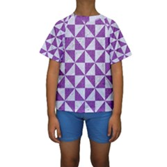 Triangle1 White Marble & Purple Denim Kids  Short Sleeve Swimwear by trendistuff