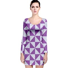 Triangle1 White Marble & Purple Denim Long Sleeve Velvet Bodycon Dress by trendistuff